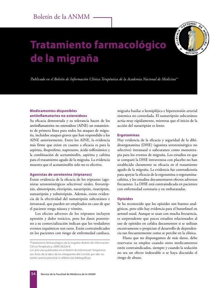 Tratamiento farmacológico de la migraña