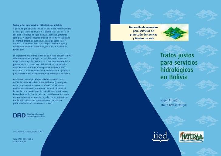 Tratos justos para servicios hidrologicos en bolivia