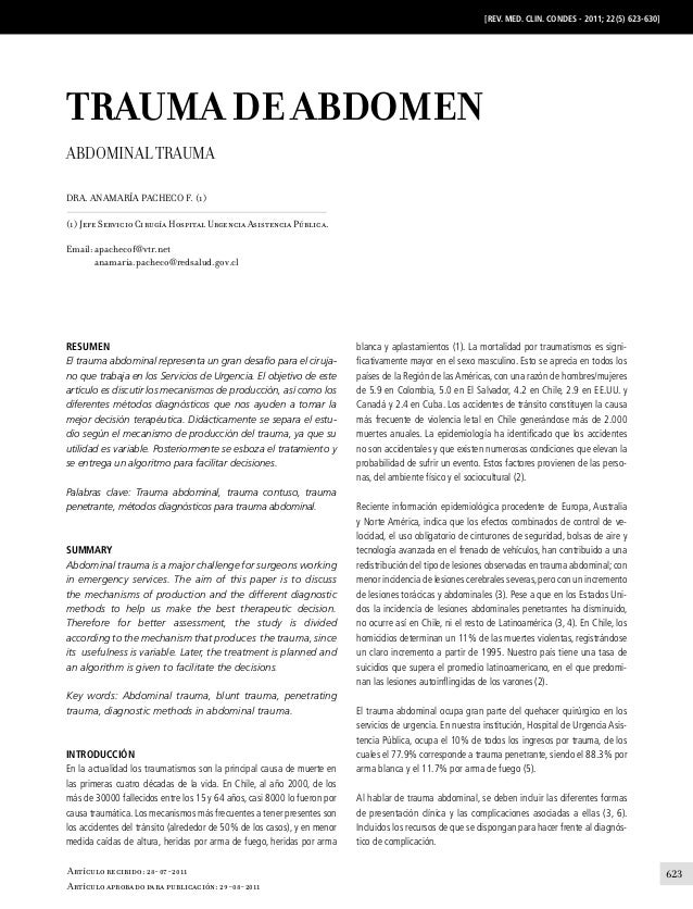 [REV. MED. CLIN. CONDES - 2011; 22(5) 623-630]  TRAUMA DE ABDOMEN Abdominal Trauma Dra. Anamaría Pacheco F. (1) (1) Jefe S...
