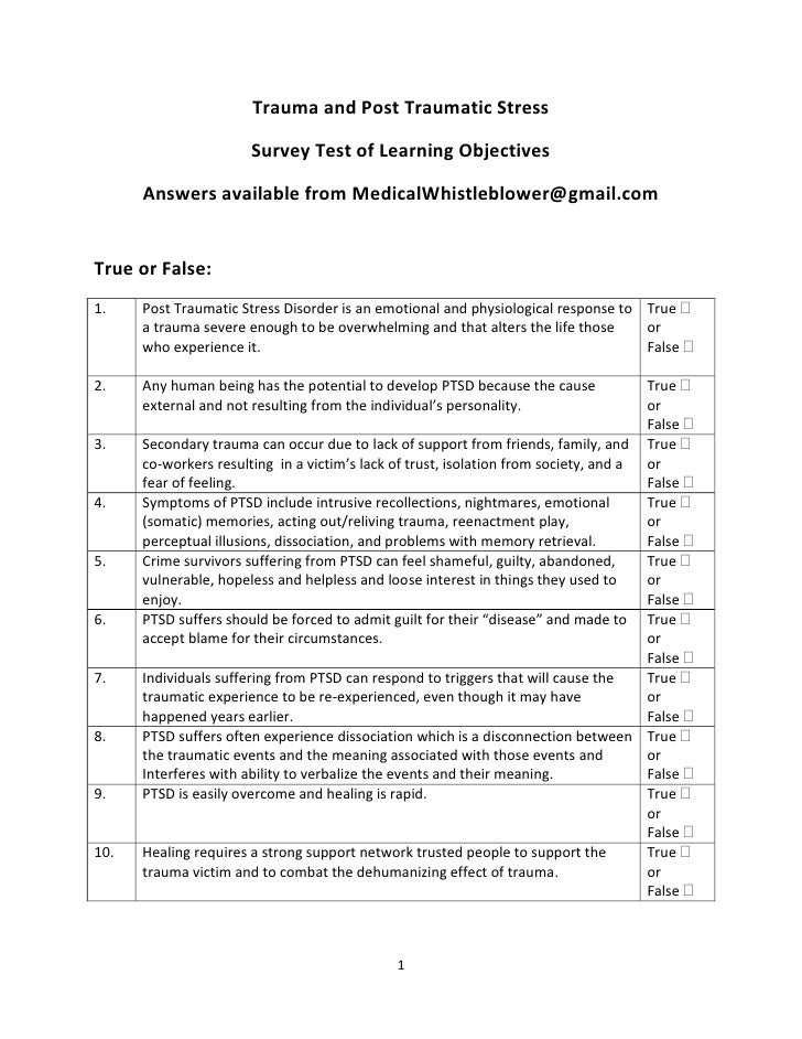 Trauma and Post Traumatic Stress                         Survey Test of Learning Objectives        Answers available from ...