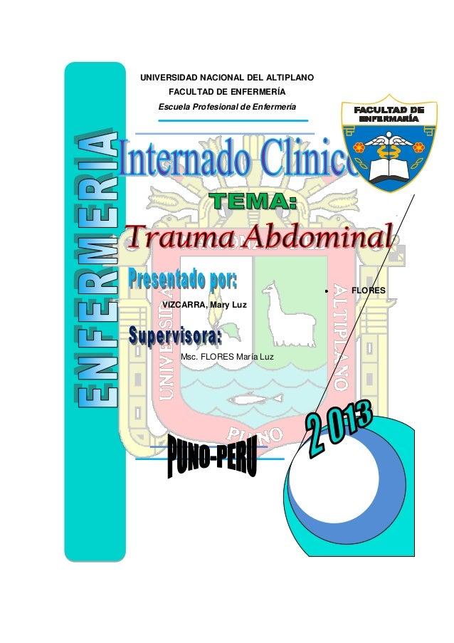 UNIVERSIDAD NACIONAL DEL ALTIPLANO FACULTAD DE ENFERMERÍA Escuela Profesional de Enfermería  FLORES VIZCARRA, Mary Luz  Ms...