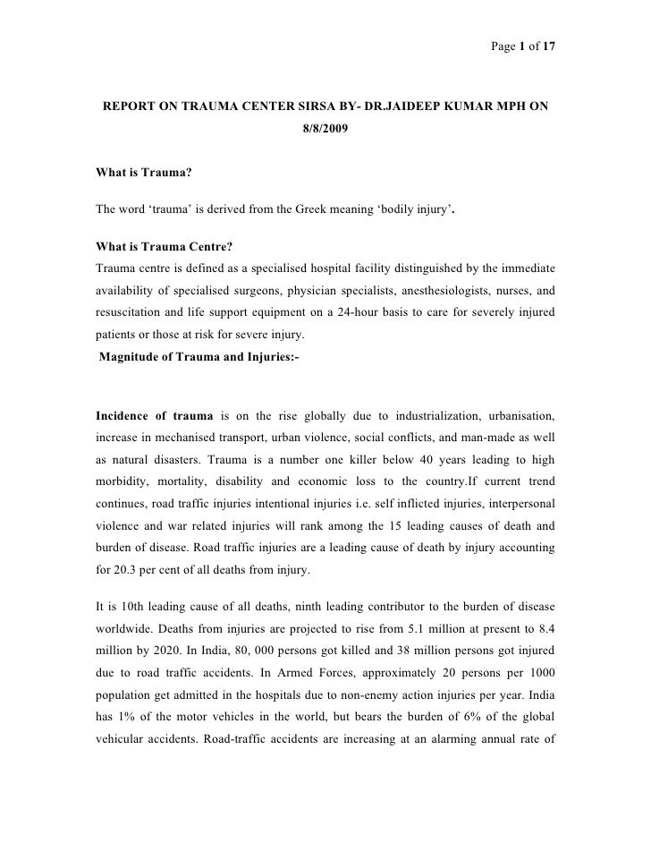 Page 1 of 17 REPORT ON TRAUMA CENTER SIRSA BY- DR.JAIDEEP KUMAR MPH ON                                           8/8/2009W...