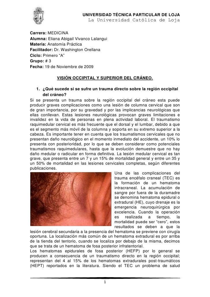 Trauma Sobre El Occipital