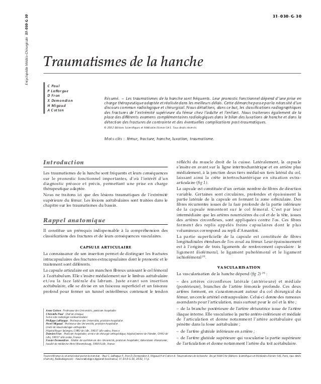 Traumatismes de la hanche  C Paul  P Laffargue  D Fron  X Demondion  H Migaud  A Cotten  Résumé. – Les traumatismes de la ...