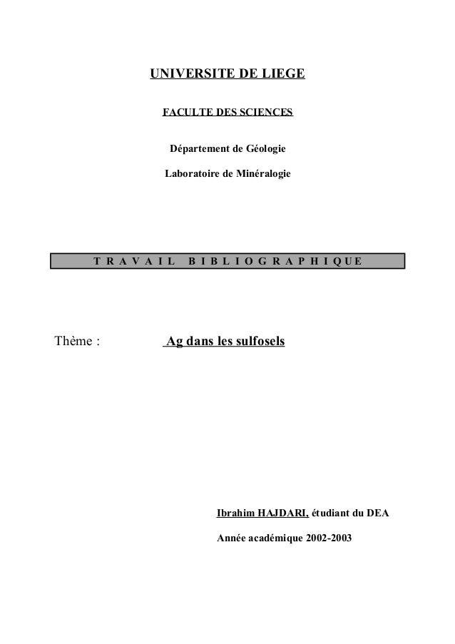 UNIVERSITE DE LIEGE                FACULTE DES SCIENCES                  Département de Géologie                 Laboratoi...