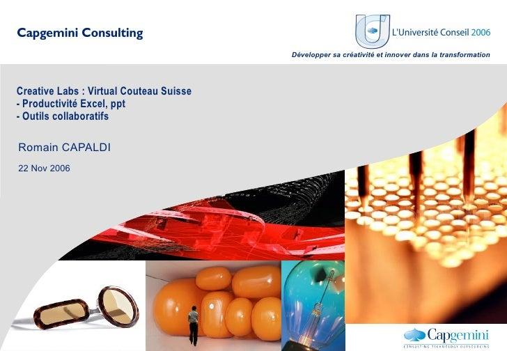 Développer sa créativité et innover dans la transformation     Creative Labs : Virtual Couteau Suisse - Productivité Excel...