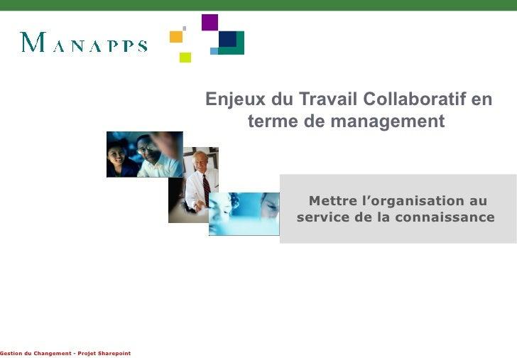 Enjeux du Travail Collaboratif en terme de management  Mettre l'organisation au service de la connaissance