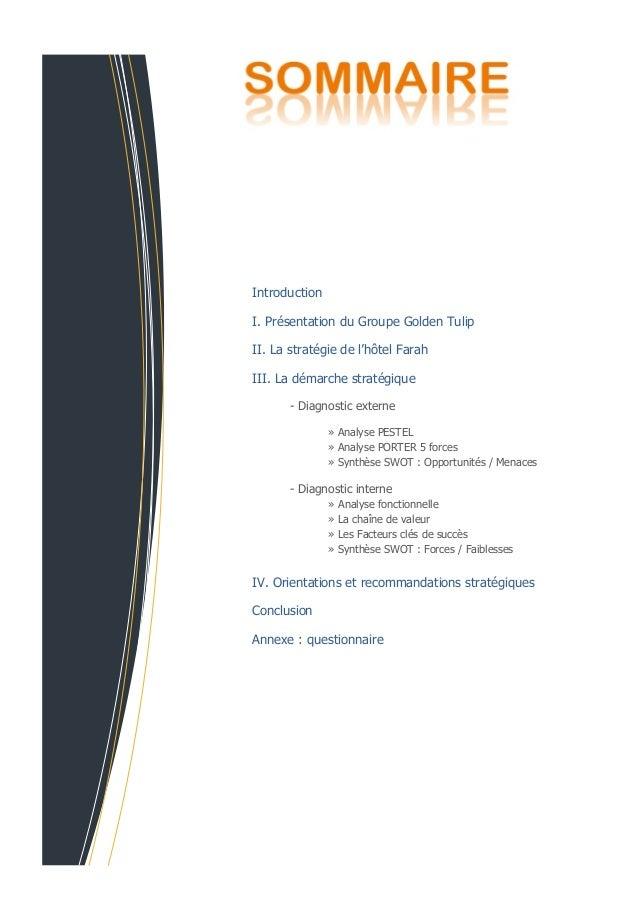 IntroductionI. Présentation du Groupe Golden TulipII. La stratégie de l'hôtel FarahIII. La démarche stratégique       - Di...