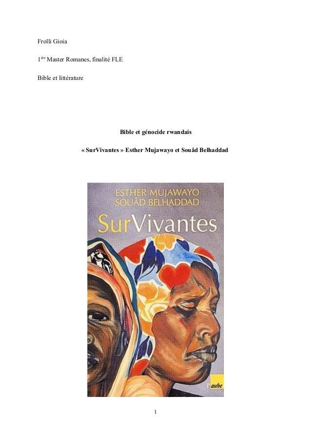 Frolli Gioia 1ère Master Romanes, finalité FLE Bible et littérature  Bible et génocide rwandais « SurVivantes » Esther Muj...