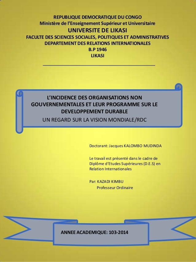REPUBLIQUE DEMOCRATIQUE DU CONGO Ministère de l'Enseignement Supérieur et Universitaire  UNIVERSITE DE LIKASI FACULTE DES ...
