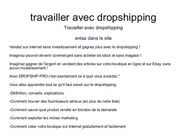 travailler avec dropshippingTravailler avec dropshippingentez dans le siteVendez sur internet sans investissement et gagne...
