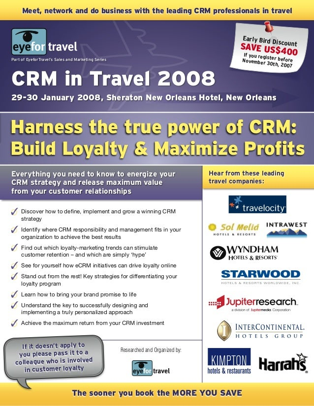 Hear from these leading travel companies: Everything you need to know to energize your CRM strategy and release maximum va...