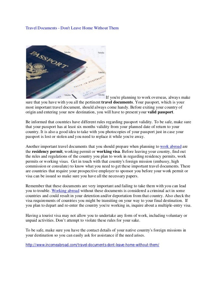 Travel Documents - Dont Leave Home Without Them                                                 If youre planning to work ...