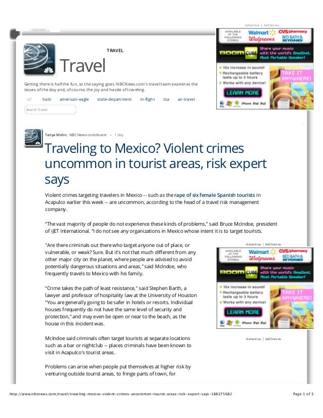 HospitalityLawyer.com | News Article | Traveling to Mexico? Violent Crimes Uncommon in Tourist Areas, Says Stephen Barth and Bruce McIndoe
