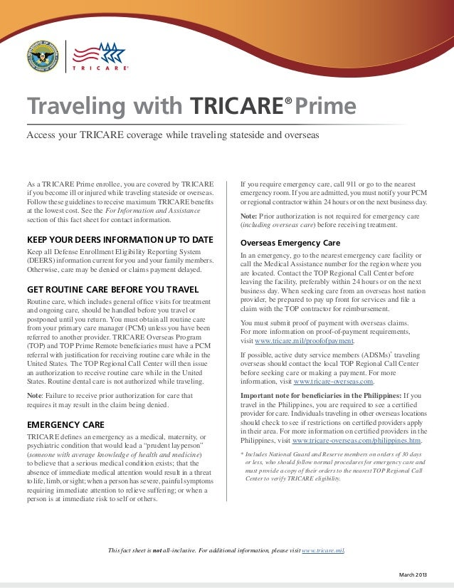 Traveling with TRICARE Prime                                                                       ®Access your TRICARE co...