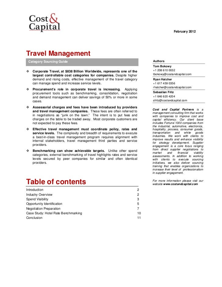February 2012 Travel Management    Category Sourcing Guide                                                       Authors  ...
