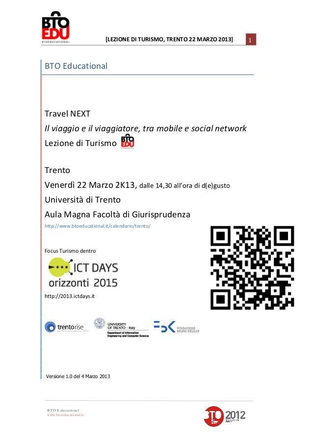 [LEZIONE DI TURISMO, TRENTO 22 MARZO 2013]                                                                ...
