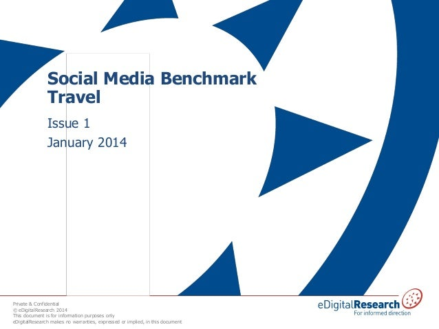 Social Media Benchmark Travel Issue 1 January 2014  Private & Confidential © eDigitalResearch 2014 This document is for in...