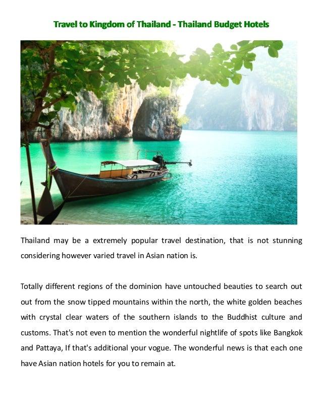 Travel to kingdom of thailand   thailand budget hotels