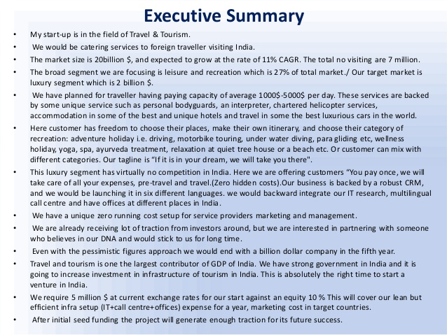 executive summary on a business plan