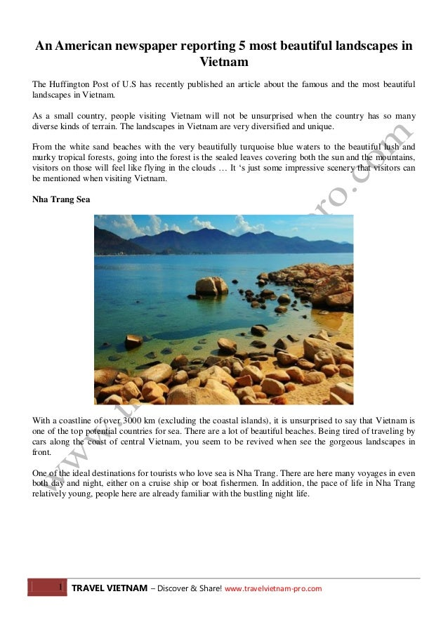 1 TRAVEL VIETNAM – Discover & Share! www.travelvietnam-pro.com An American newspaper reporting 5 most beautiful landscapes...