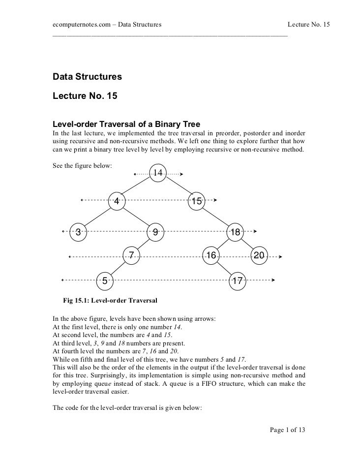 computer notes - Traversal of a binary tree