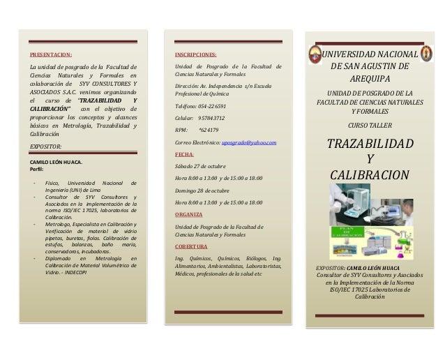 PRESENTACION:  INSCRIPCIONES:  La unidad de posgrado de la Facultad de Ciencias Naturales y Formales en colaboración de SY...