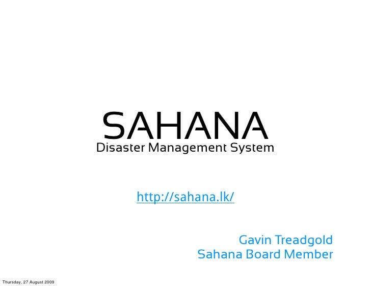 Sahana Presentation 20090827