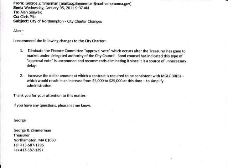 From: George Zimmerman [mailto:gzimmerman@northamptonma.gov]Senh Wednesday, January 05, 2011 9:37 AMTo: Alan SeewaldCc: Ch...