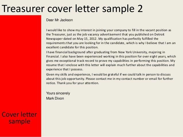 Treasurer cover letter for Cover letter to show interest in job
