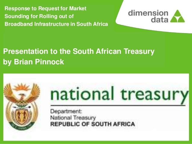Presentation to SA National Treasury on National Broadband Funding