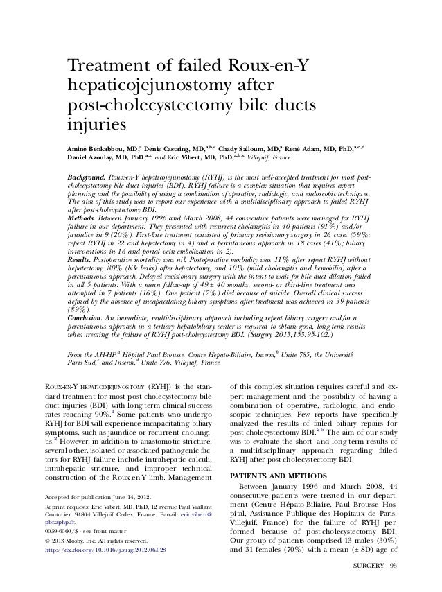 Treatment of failed roux en-y hepaticojejunostomy after post cholecystectomy bile duct injuries