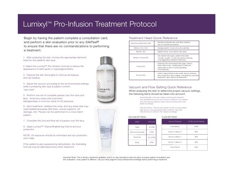 Lumixyl™ Pro-Infusion Treatment Protocol Begin by having the patient complete a consultation card,                        ...