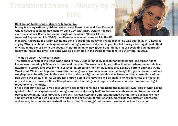 6057900-114300000-1485900-1143000Treatment Sheet – Misery by Maroon FiveTreatment Sheet – Misery by Maroon Five<br />Backg...