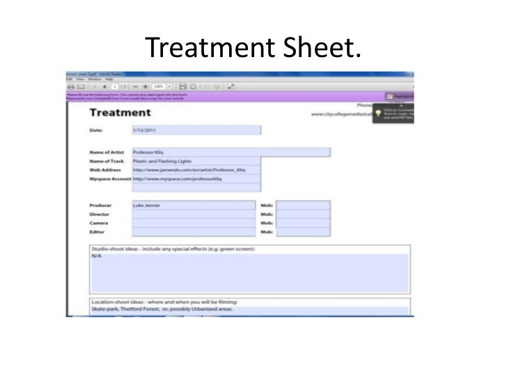 Treatment sheet
