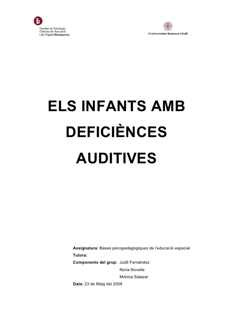 Els infants amb deficiènces auditives