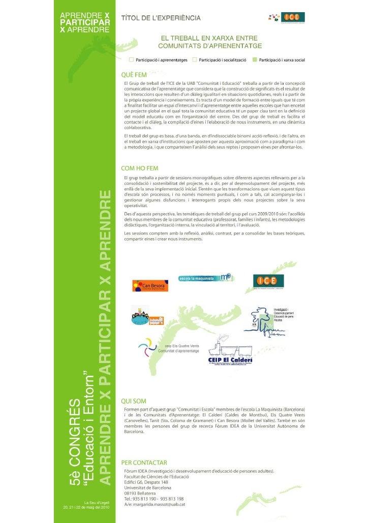 Treball en xarxa entre comunitats d'aprenentatge