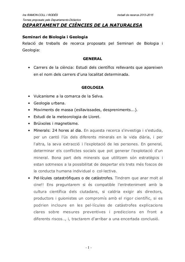 Treball recerca propostes departs inici 2013 2015
