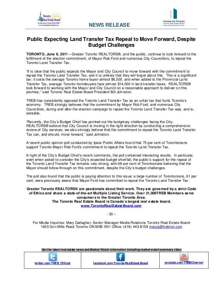 TREB land transfer tax repeal