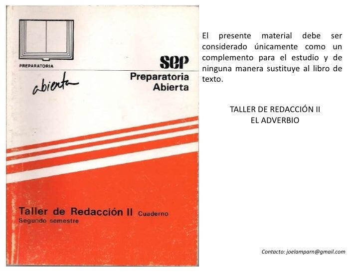 EL ADVERBIO - TALLER DE REDACCIÓN II