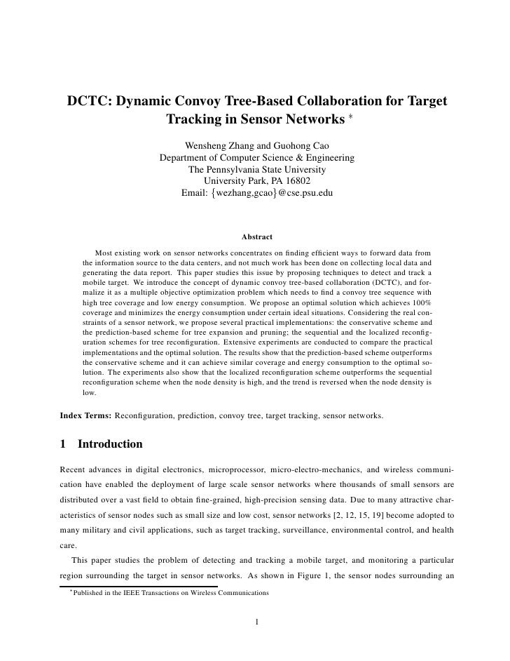 DCTC: Dynamic Convoy Tree-Based Collaboration for Target               Tracking in Sensor Networks £                      ...