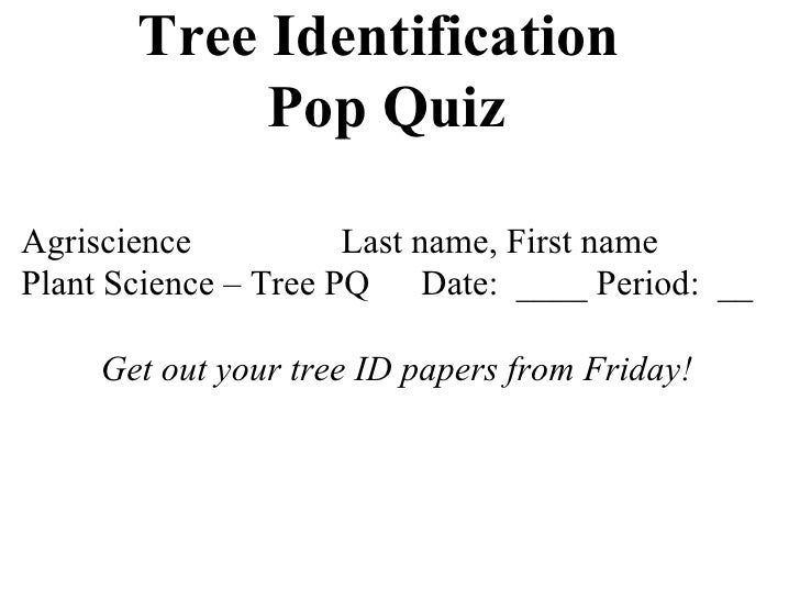 Tree Identification  Pop Quiz Agriscience Last name, First name Plant Science – Tree PQ Date:  ____ Period:  __ Get out yo...