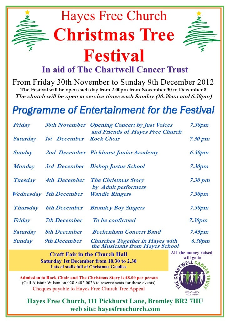 Hayes Free Church                    Christmas Tree                       Festival             In aid of The Chartwell Can...