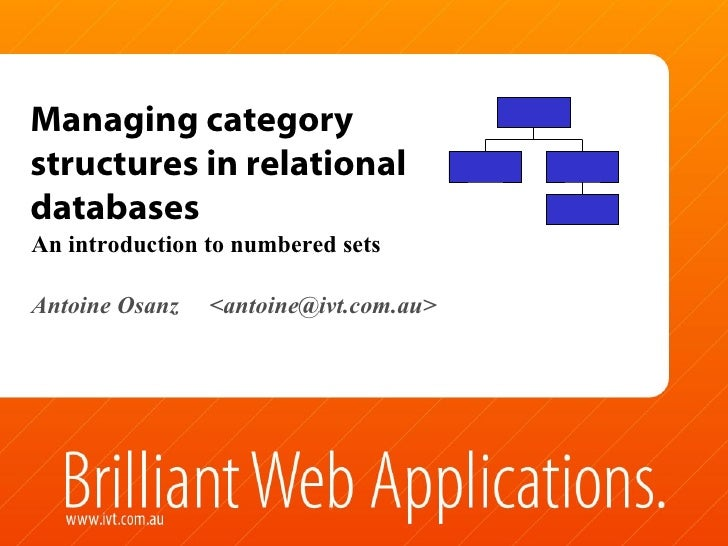 Managing category structures in relational databases An introduction to numbered sets Antoine Osanz  <antoine@ivt.com.au>