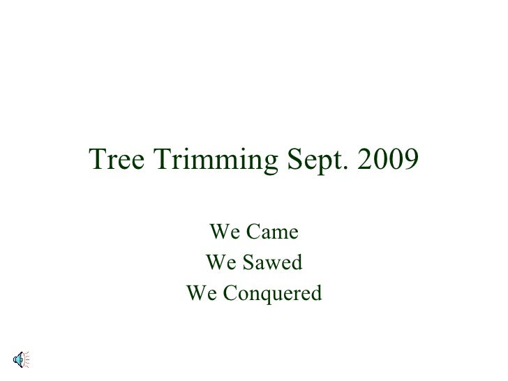 Tree Trimming Sept. 2009 We Came We Sawed We Conquered