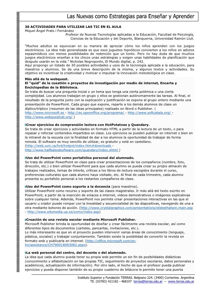 30 ACTIVIDADES PARA UTILIZAR LAS TIC EN EL AULA Miquel Àngel Prats i Fernández                           Profesor de Nueva...