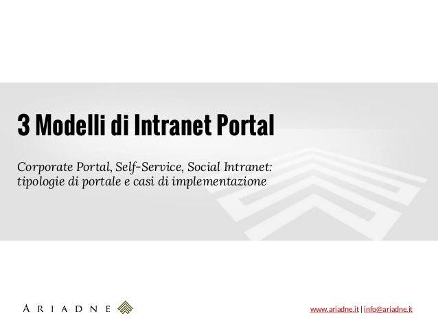 www.ariadne.it | info@ariadne.it 3 Modelli di Intranet Portal Corporate Portal, Self-Service, Social Intranet: tipologie d...