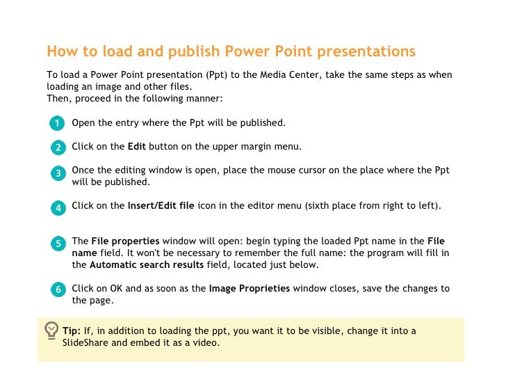 How to load and publish Power Point presentations   <ul><ul><li>Open the entry where the Ppt will be published.  </li></ul...