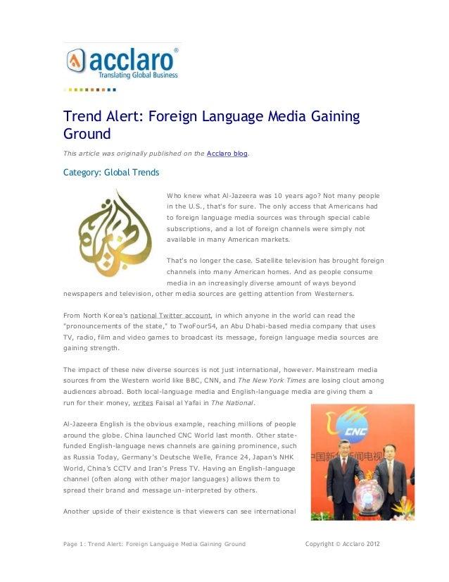 Trend Alert Foreign Language Media Gaining Ground
