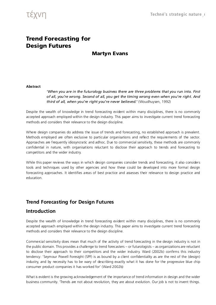 Trend forecasting for design futures by Martyn Evans